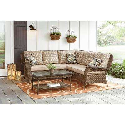 Beacon Park 3-Piece Brown Wicker Outdoor Sectional Sofa with Toffee Cushions