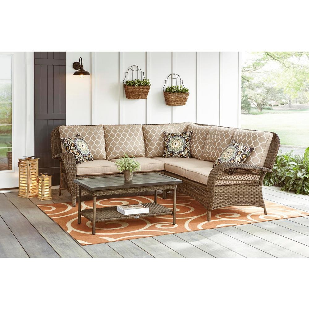 Pleasing Hampton Bay Beacon Park 3 Piece Brown Wicker Outdoor Patio Sectional Sofa With Standard Toffee Trellis Tan Cushions Andrewgaddart Wooden Chair Designs For Living Room Andrewgaddartcom