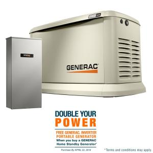 Generac 22,000-Watt (LP)/19,500-Watt (NG) Air Cooled Standby Generator with Whole House 200 Amp Automatic Transfer... by Generac