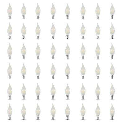 40-Watt Equivalent CA10 Candelabra Dimmable Filament CEC Frosted Glass Chandelier LED Light Bulb, Daylight (48-Pack)