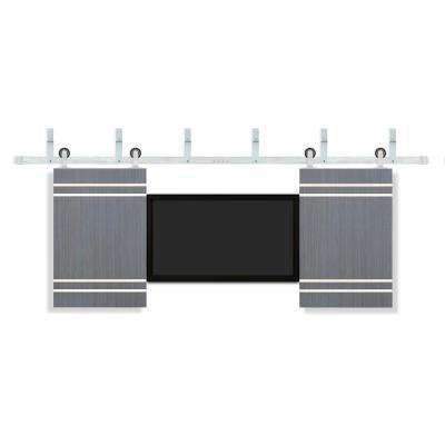 24 in. x 36 in. TV Unfinished Flush Driftwood Interior Barn Door with Stainless Sliding Door Hardware