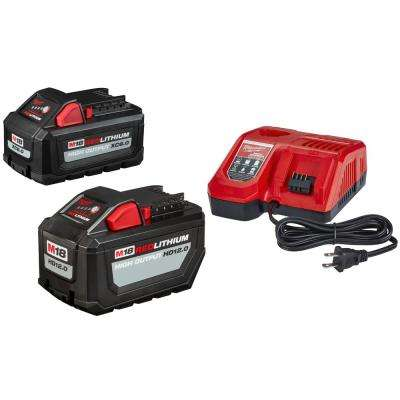 M18 18-Volt Lithium-Ion High Output Battery Pack 12.0 Ah and Rapid Charger Starter Kit With Free 6.0 Ah Battery