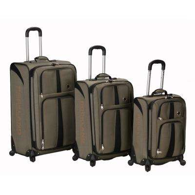 Rockland 3-Piece Eclipse Spinner Softside Luggage Set, Khaki