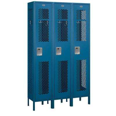 81000 Series 45 in. W x 78 in. H x 15 in. D Single Tier Extra Wide Vented Metal Locker Assembled in Blue