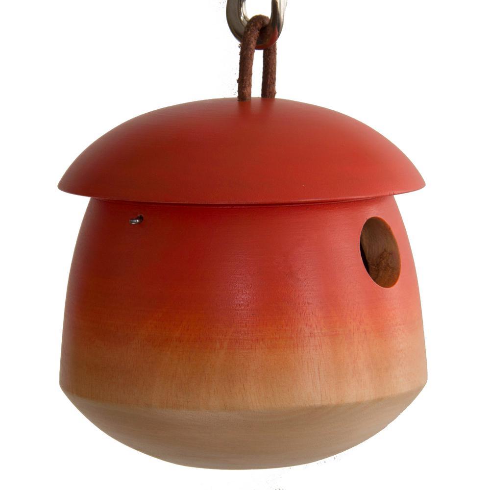 6 in. Orange Mango Wood Tumble Bird House