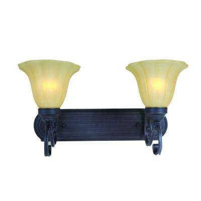 Florence Collection 2-Light Sierra Slate Vanity Light with Champagne Glass Shade