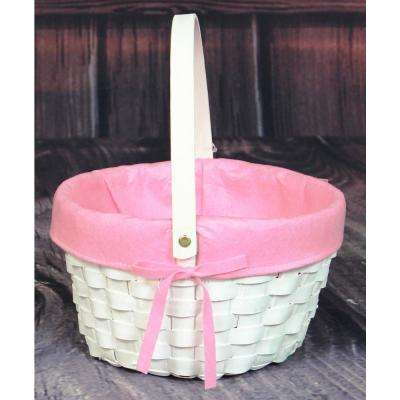 10.5 in. x 6 in. x 10.5 in.  in. White Painted Round Woodchip Lined Basket (Pink)