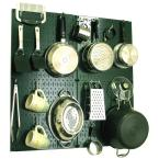 Kitchen Pegboard 32 in. x 32 in. Metal Peg Board Pantry Organizer Kitchen Pot Rack Green Pegboard and White Peg Hooks