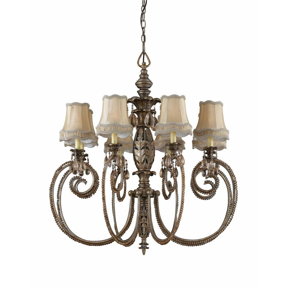 Illumine 8-Light English Bronze Chandelier with Soft Black Shades