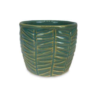 3.5 in. Slate Zebra Small Green Ceramic Succulent Planter