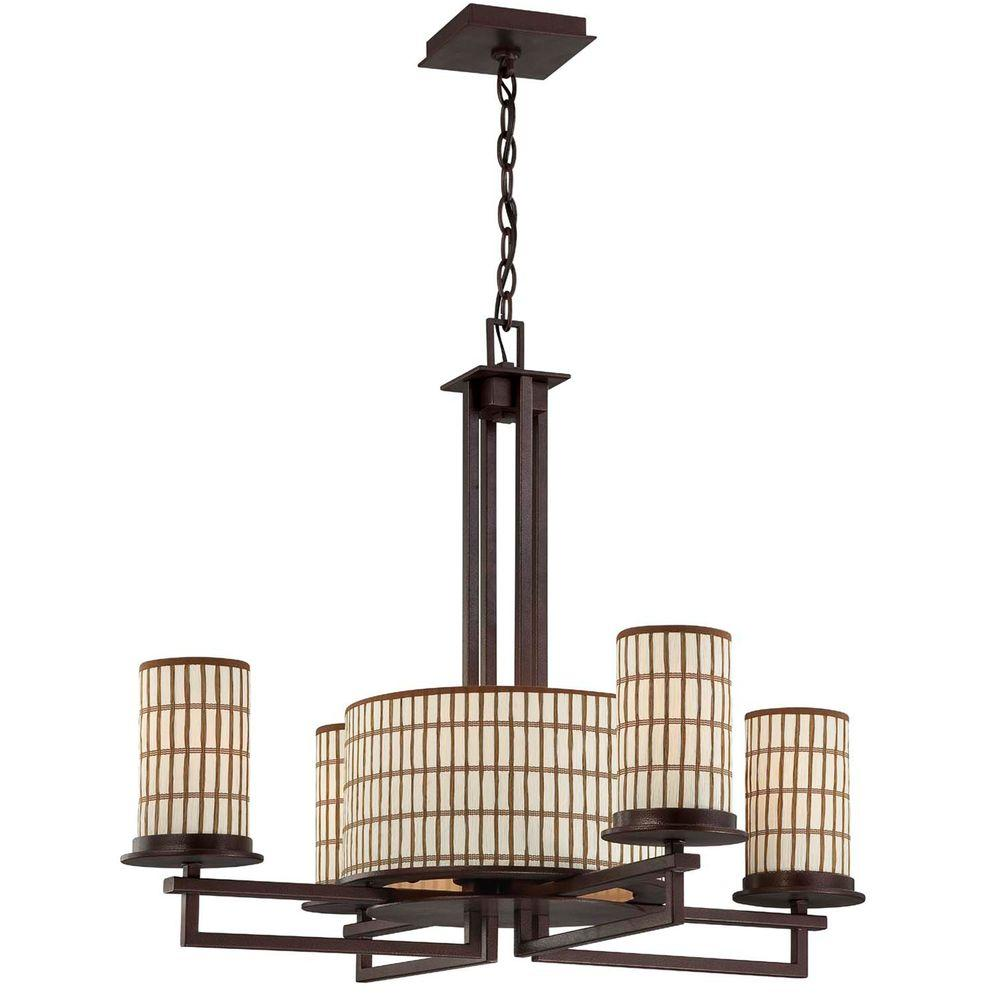 Yosemite Home Decor Sorrel 5-Light Incandescent Chandelier, Iron Frame with Paper Shades