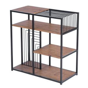 sumyeg Amazing 29.1 Inch Brown and Black Metal 4-Shelf Etagere Bookcase with Open Back