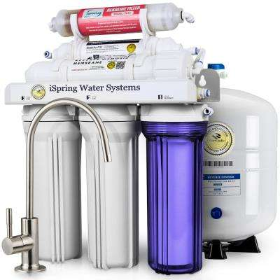 WQA Gold Seal 6-Stage with Alkaline Re-M Filter 75GPD Under Sink Reverse Osmosis Drinking Water Filtration System
