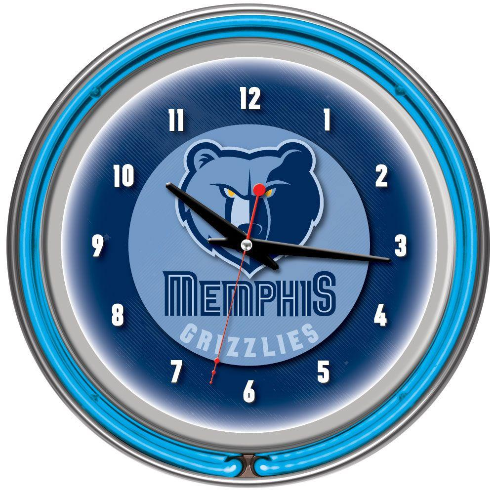 14 in. Memphis Grizzlies NBA Chrome Double Ring Neon Wall Clock
