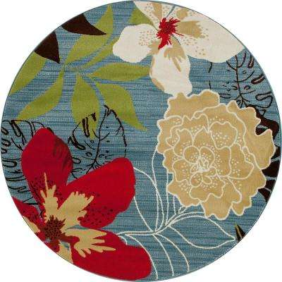 Antigua Tropical Floral Aqua 5 ft. x 5 ft. Round Area Rug