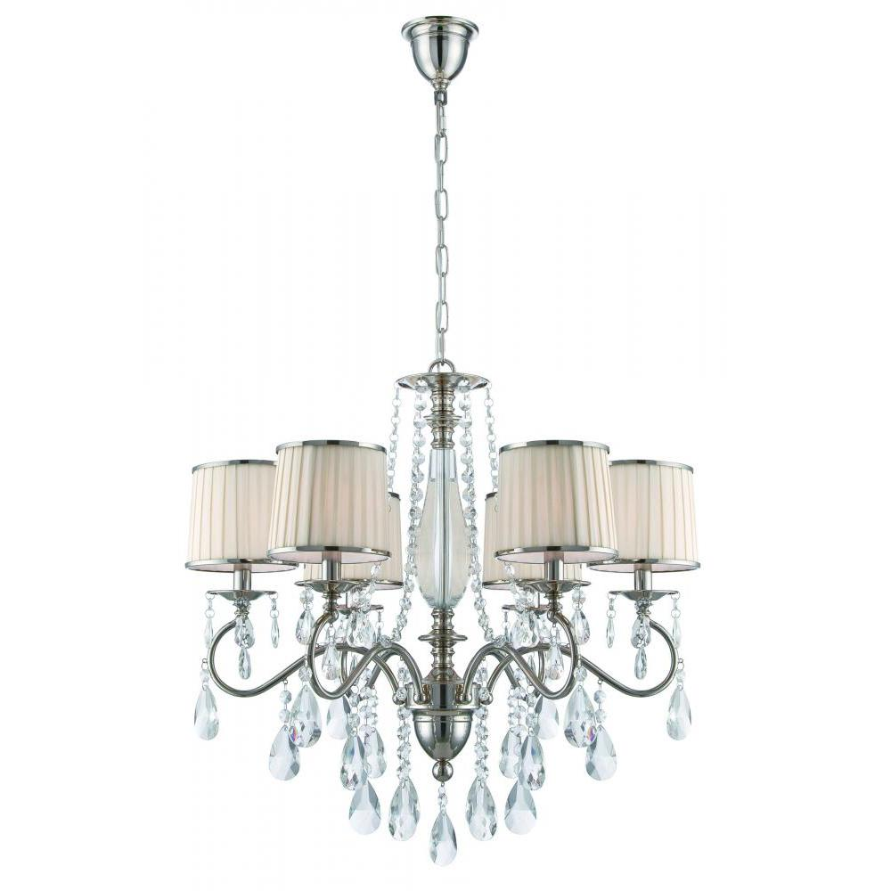 filament design 6 light polished chrome chandelier with white fabric shades cli ls496533 the. Black Bedroom Furniture Sets. Home Design Ideas