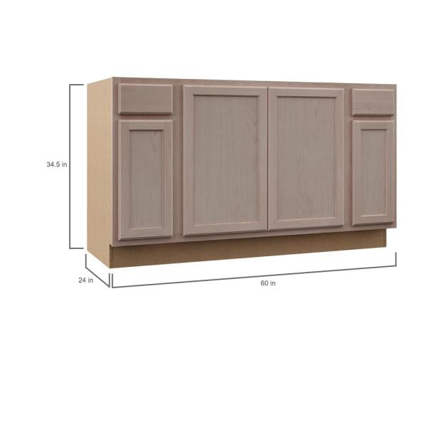 Hampton Bay Hampton Assembled 60x34 5x24 In Sink Base Kitchen Cabinet In Unfinished Beech Ksbf60 Uf The Home Depot