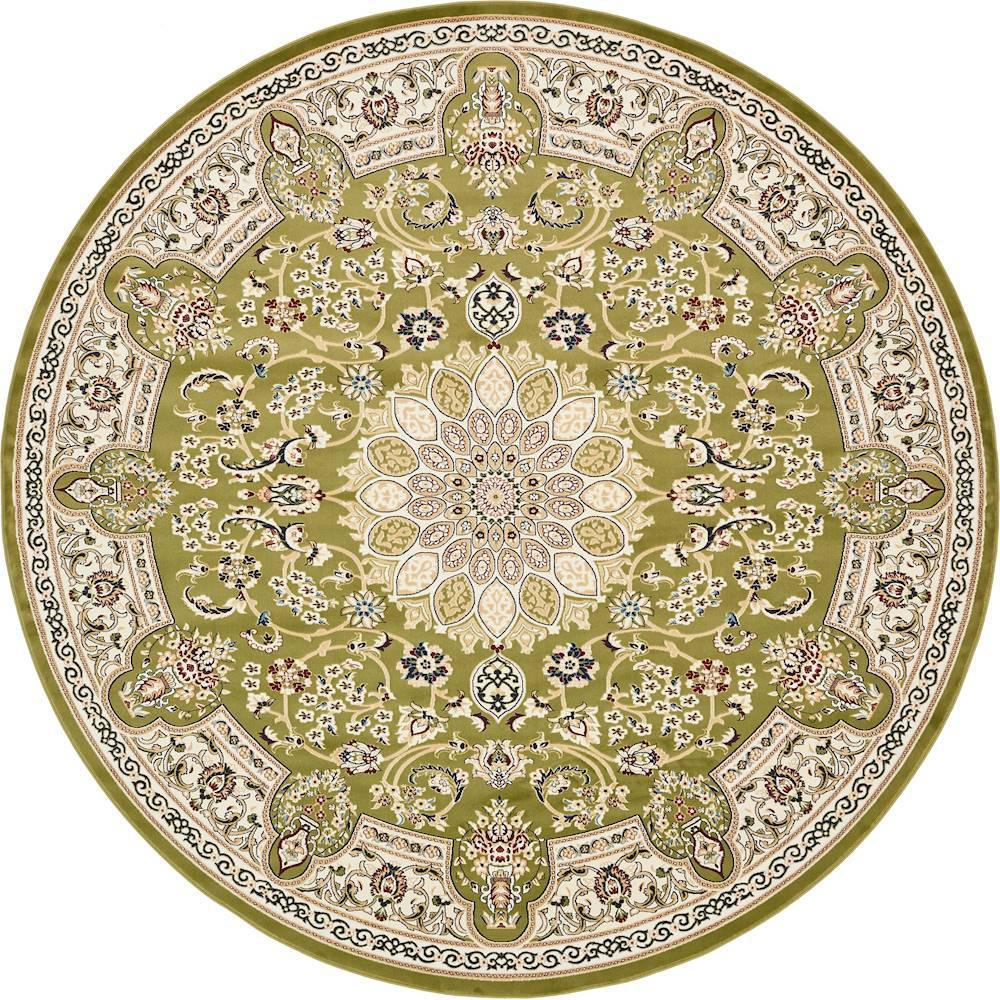 Unique Loom Nain Design Green 10 ft. x 10 ft. Round Area Rug