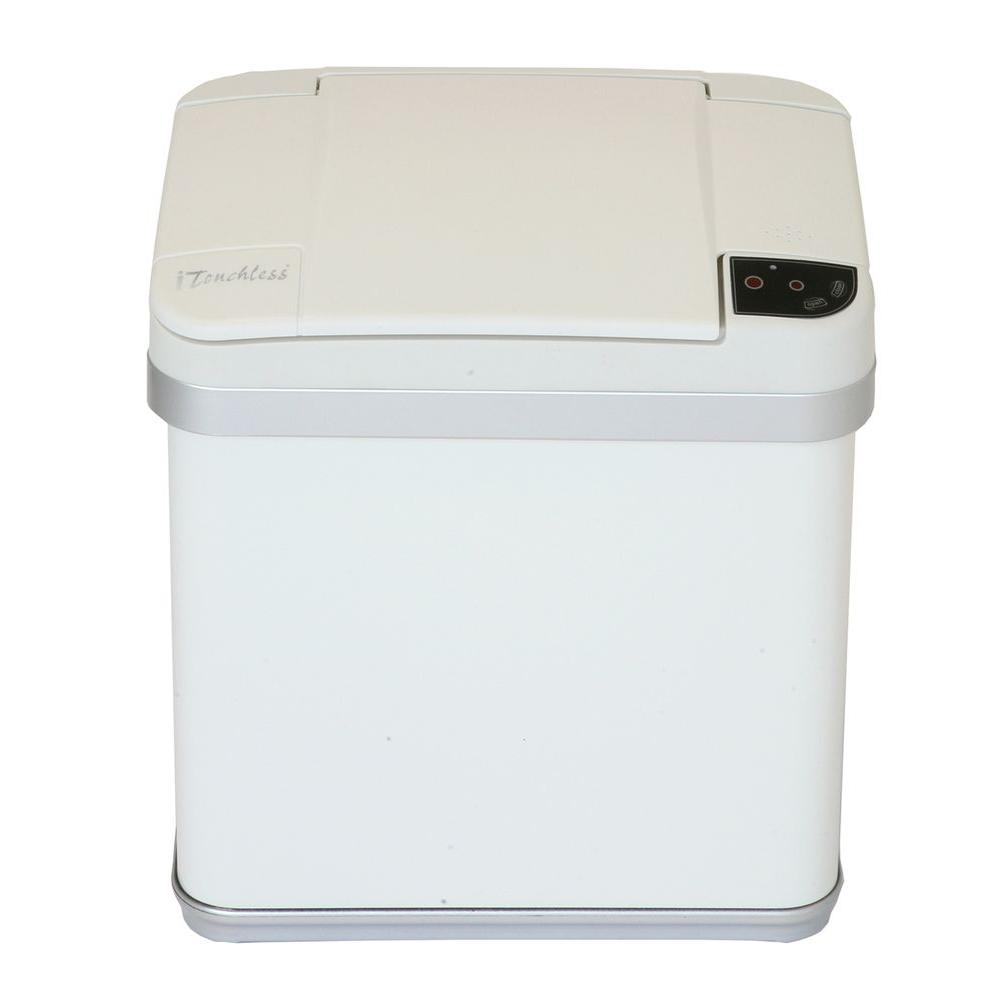 2.5 Gal. Matte Pearl White Touchless Multifunction Trash Can with Deodorizing