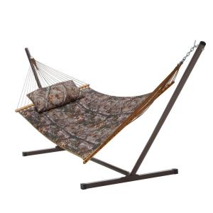 Castaway 13 ft. Quilted Real Tree Hammock with Stand and Matching Pillow by Castaway