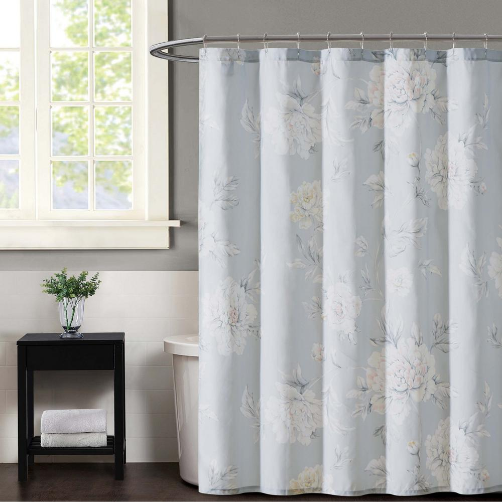 Stem Floral Gray Shower Curtain
