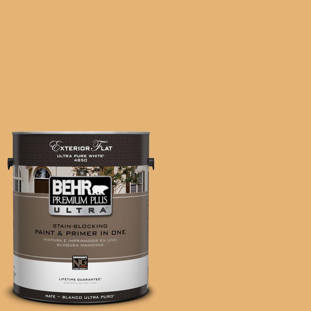 BEHR Premium Plus Ultra 1-Gal. #UL150-13 Pyramid Gold Flat Exterior Paint