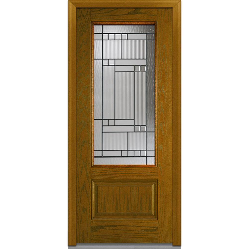 Mmi door 36 in x 80 in kensington left hand 3 4 lite 1 panel classic stained fiberglass oak 30 exterior door with glass