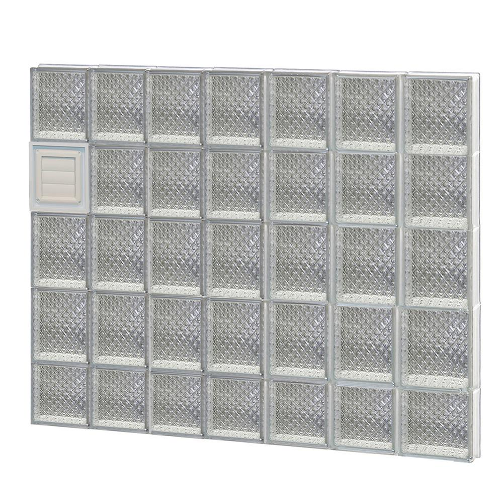 Clearly Secure 40.25 in. x 36.75 in. x 3.125 in. Frameless Diamond Pattern Glass Block Window with Dryer Vent