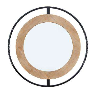 Magnolia Ranch 32 in. Diameter Iron and Wood Round Framed Mirror