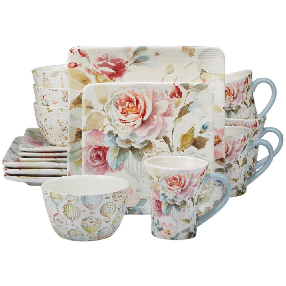 Beautiful Romance 16-Piece Multi-Colored Dinnerware Set