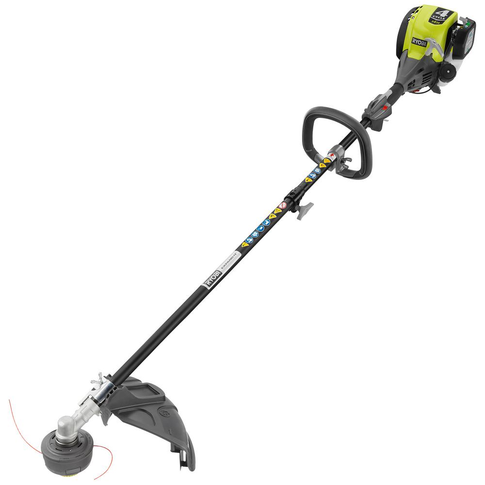 ryobi 4 cycle 30cc attachment capable straight shaft gas trimmer