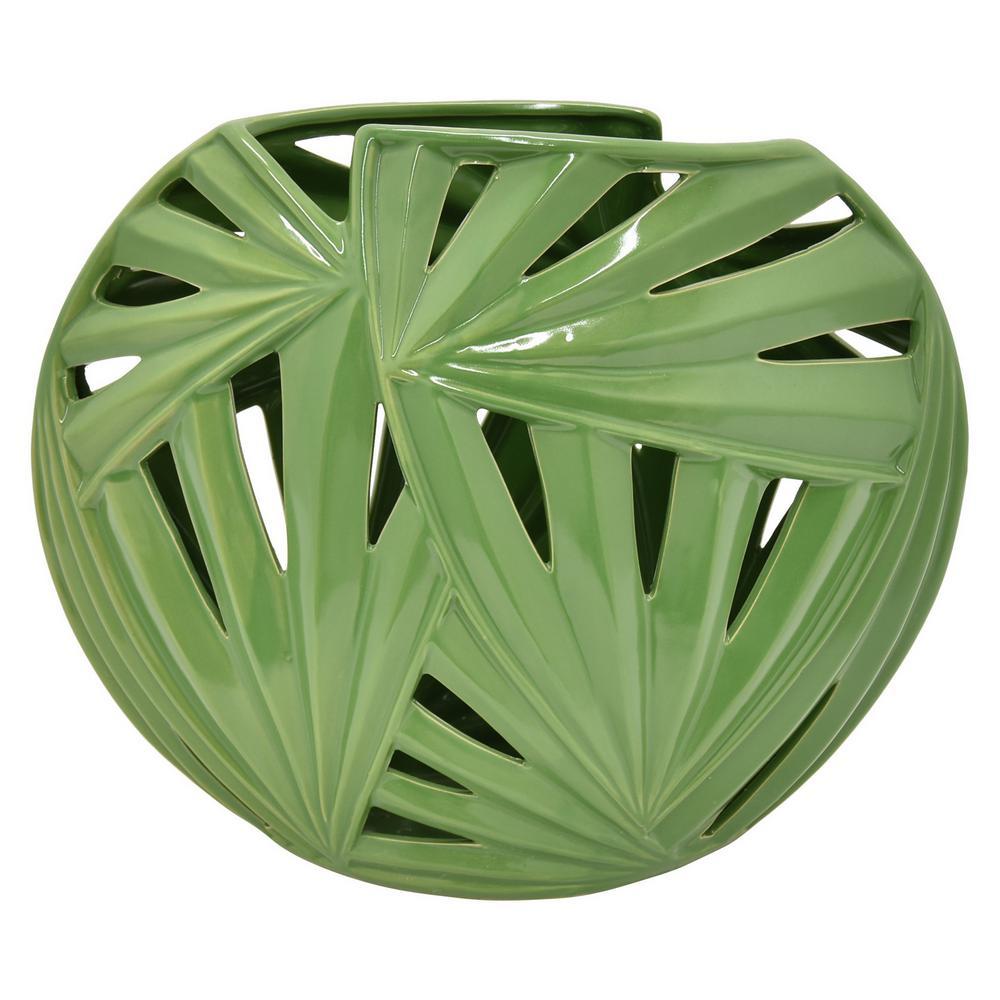 6 in. Green Ceramic Pierced Decorative Vase