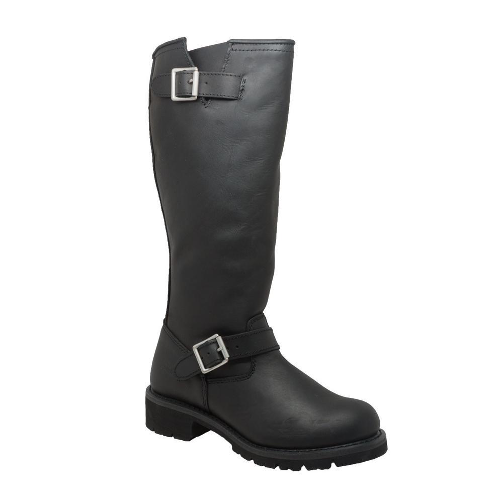 Men's Medium 10 Black Full-Grain Oiled Leather Biker Boot