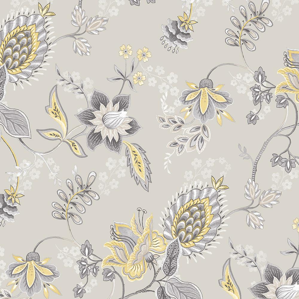 Norwall Jacobean Floral Wallpaper, Grey/Yellow/Grey was $44.54 now $29.19 (34.0% off)