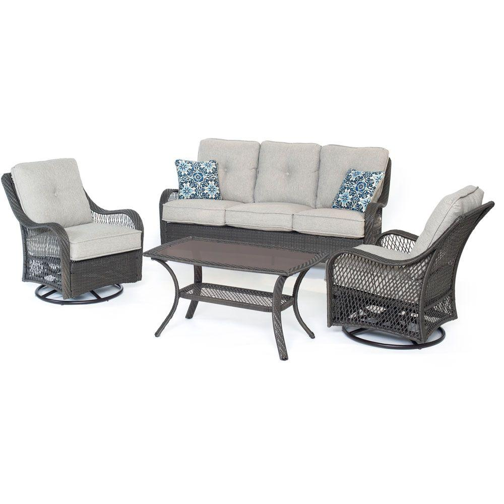Orleans 4-Piece All-Weather Wicker Patio Deep Seating Set with Silver Lining