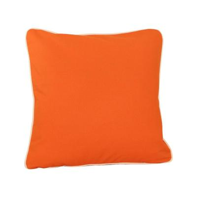 Orange Solid Cotton 20 in. x 20 in. Throw Pillow