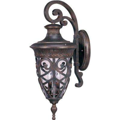 3-Light Dark Plum Bronze Incandescent Outdoor Wall Light