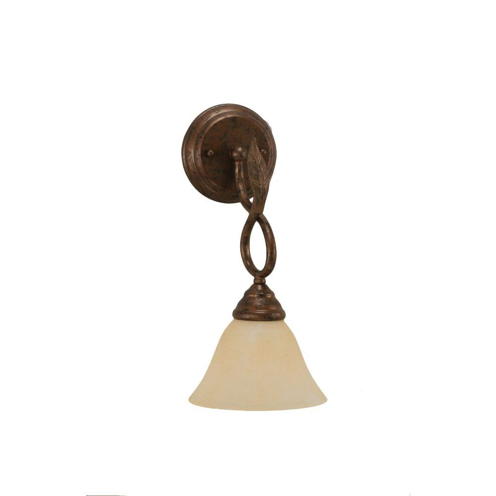 1-Light Bronze Wall Sconce with Amber Marble Glass Shade