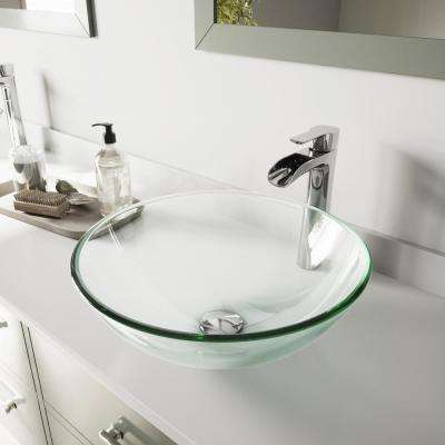 Vessel Glass Bathroom Sink in Clear Crystalline and Niko Faucet Set in Chrome