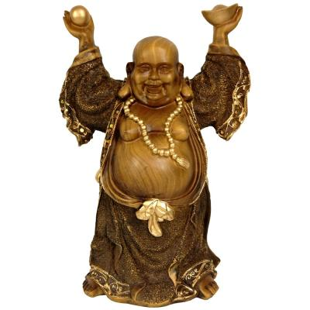 Oriental Furniture 12 in. Standing Prosperity Buddha Decorative Statue