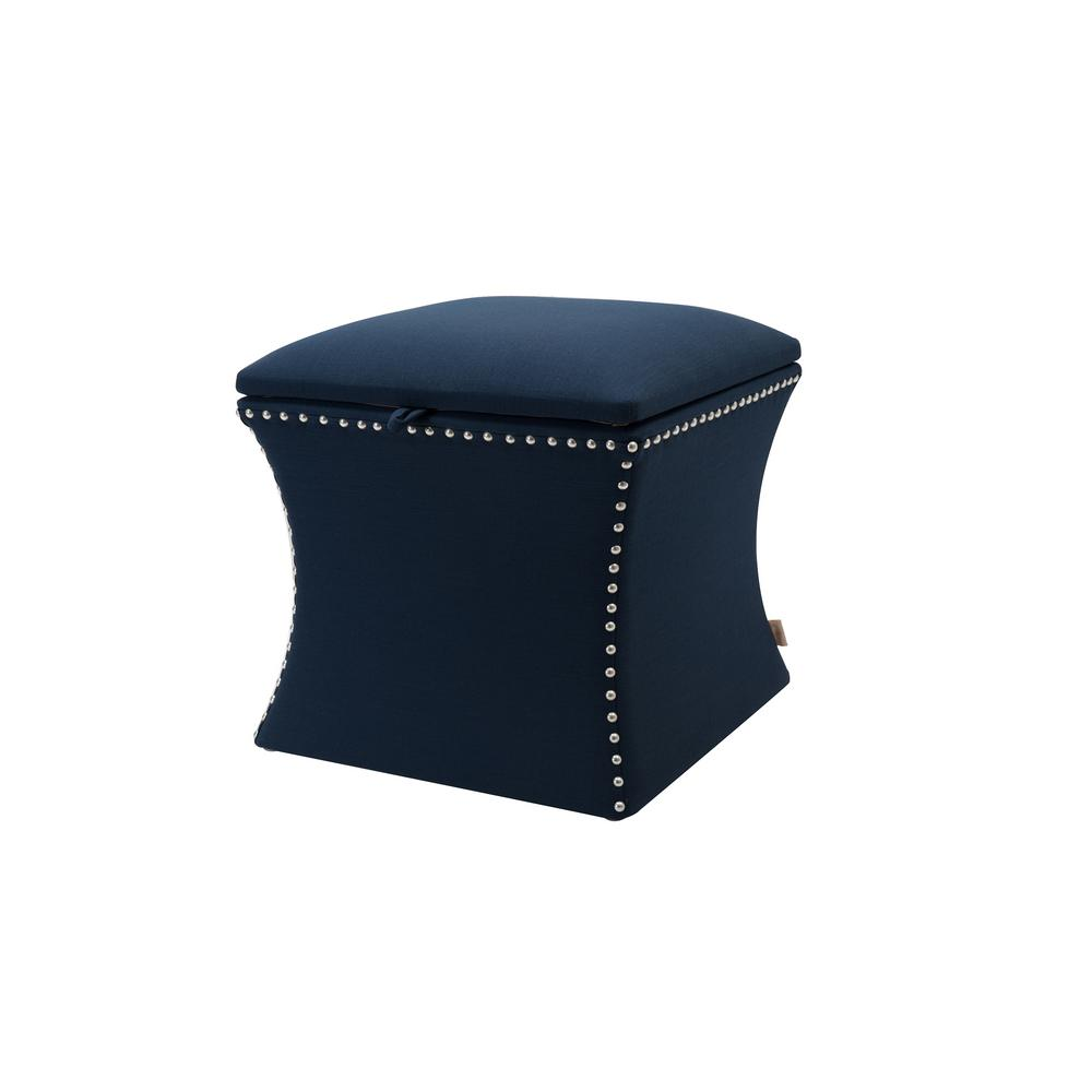 Holly Midnight Blue Storage Ottoman