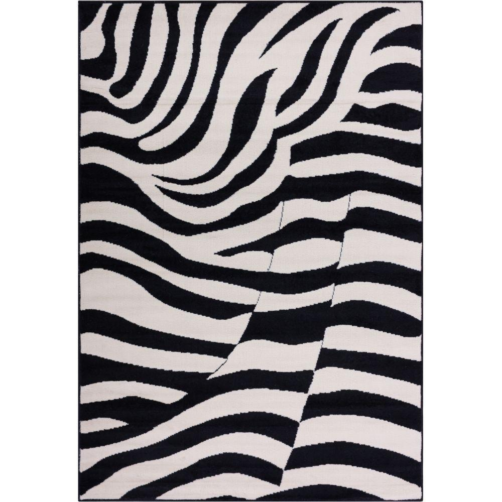 Miami Zebra Animal Print Stripe Black 8 ft. 2 in. x 9 ft....