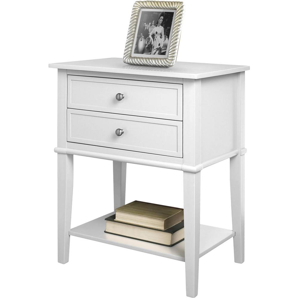 Queensbury White Accent Table with 2-Drawers