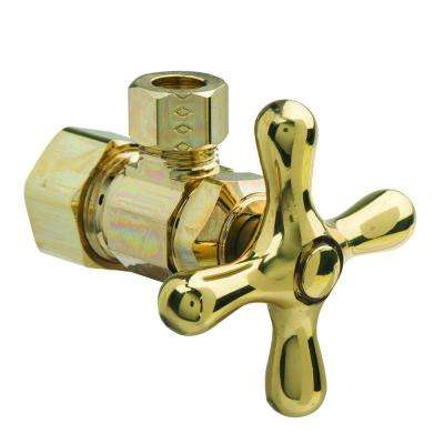 1/2 in. Nom Comp Inlet x 3/8 in. O.D. Comp Outlet Multi-Turn Angle Valve with Cross Handle in Polished Brass
