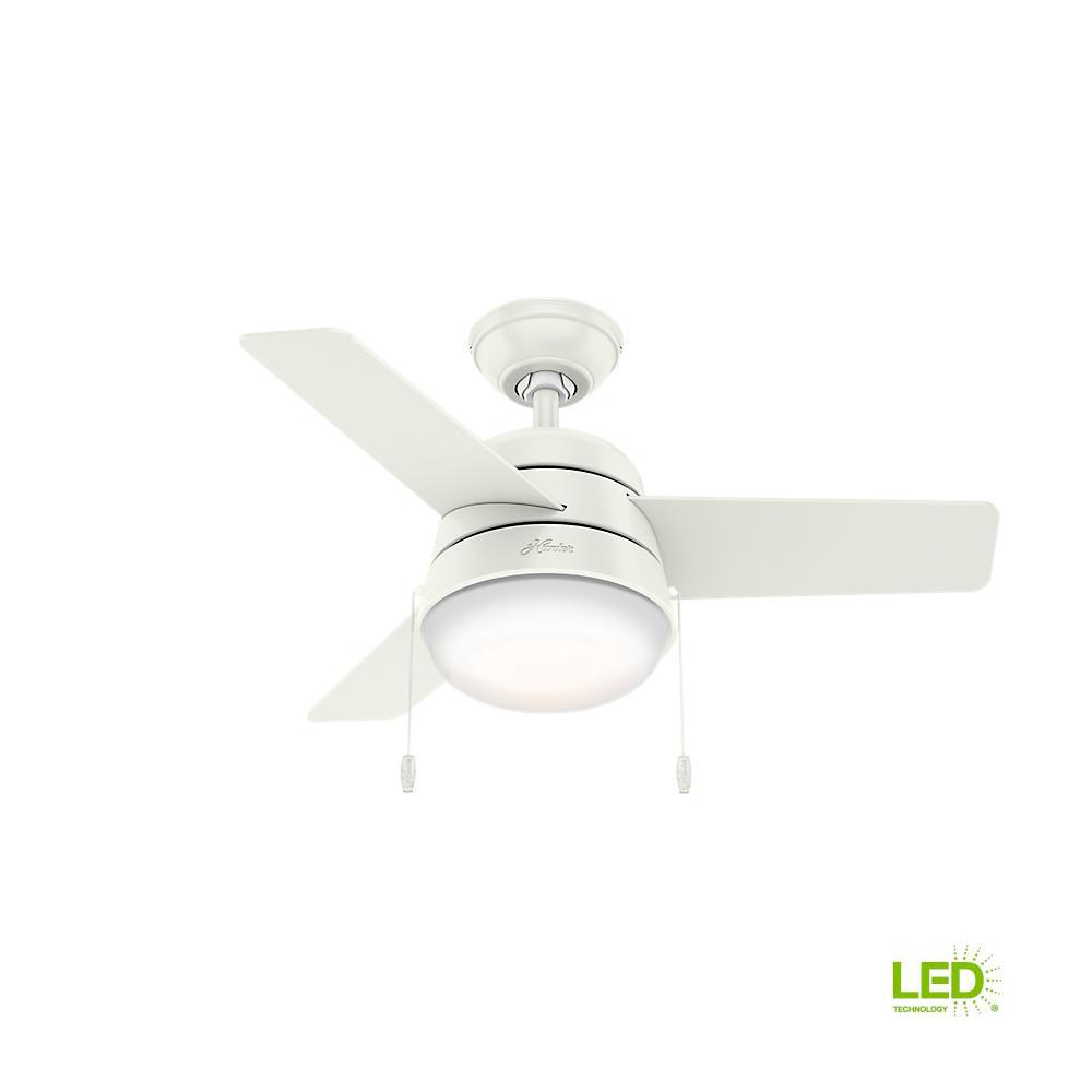 Phenomenal Hunter Aker 36 In Led Indoor Fresh White Ceiling Fan With Light Wiring Cloud Pendufoxcilixyz