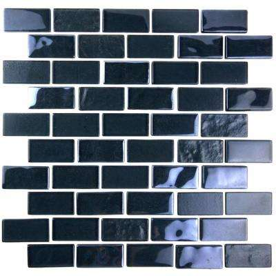 Landscape Black Translucent 10.75 in. x 10.125 in. x 6.35mm Glass Mosaic Tile