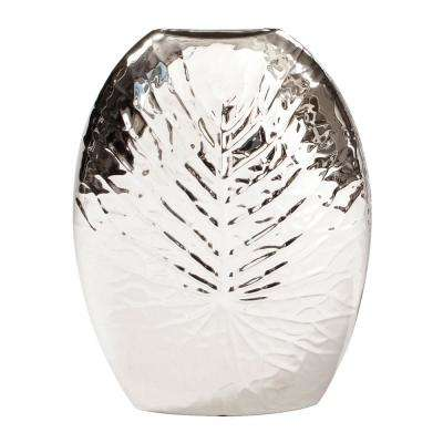 Small Silver Metallic Crackled Leaf Decorative Vase