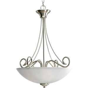 Progress Lighting Pavilion Collection 3-Light Brushed Nickel Foyer Pendant w/ Etched Watermark Glass