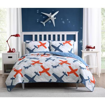 Airplane Blue Quilt Twin Set