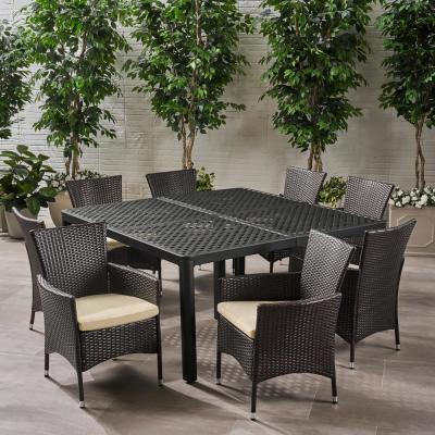 Bragdon Matte Black and Multi-Brown 9-Piece Aluminum and Wicker Square Outdoor Dining Set with Beige Cushions